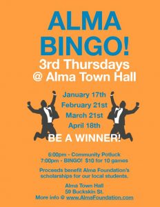 Alma Community Bingo @ Alma Town Hall